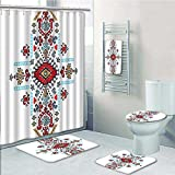 vanfan Designer Bath Polyester 5-Piece Bathroom Set, Mexican and Tribal Ornamental Folkloric Unique Print bathroom rugs shower curtain/rings and Both Towels(Large size)