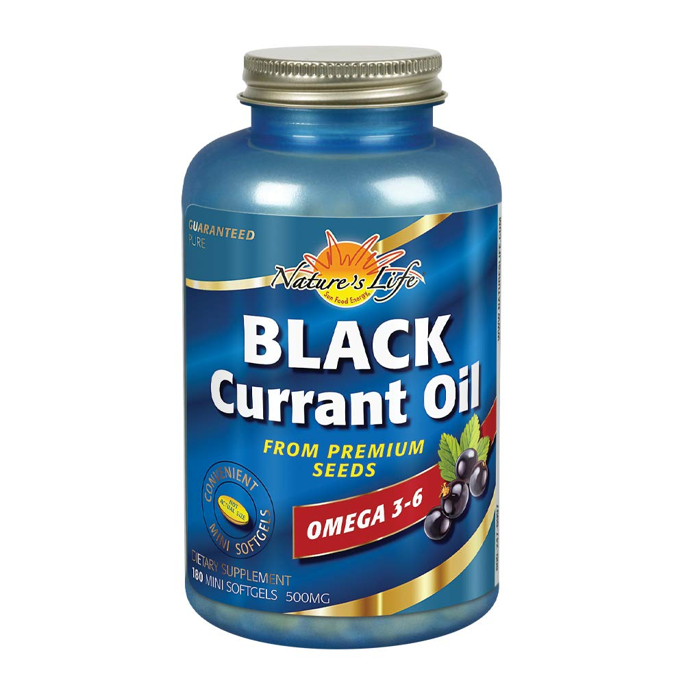 Nature's Life Black Currant Oil Minis 500mg | With Omega 3-6 for Skin, Hair, Heart and Joint Health | 180ct, 180 Serv. by Nature's Life