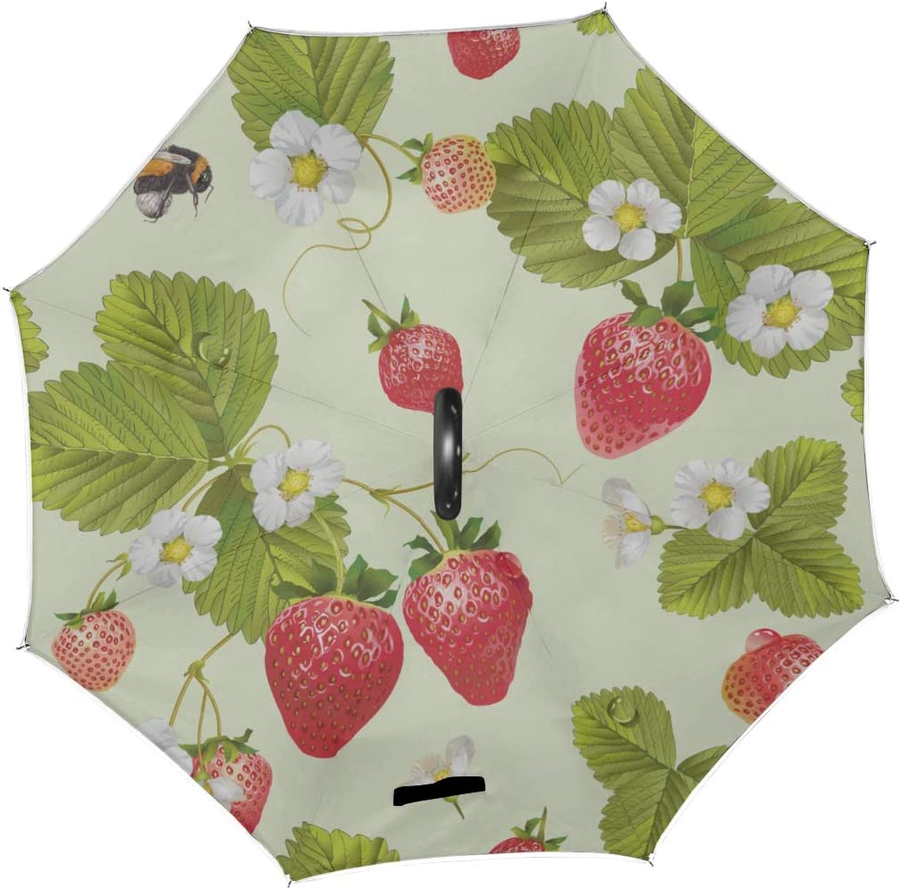 Double Layer Inverted Inverted Umbrella Is Light And Sturdy Pattern Rabbit Carrot Strawberry Reverse Umbrella And Windproof Umbrella Edge Night Refle