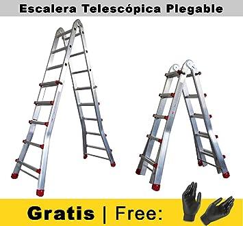 Nawa Escalera telescópica plegable profesional de aluminio. Articulada en tijera a través del desplazamiento telescópico de