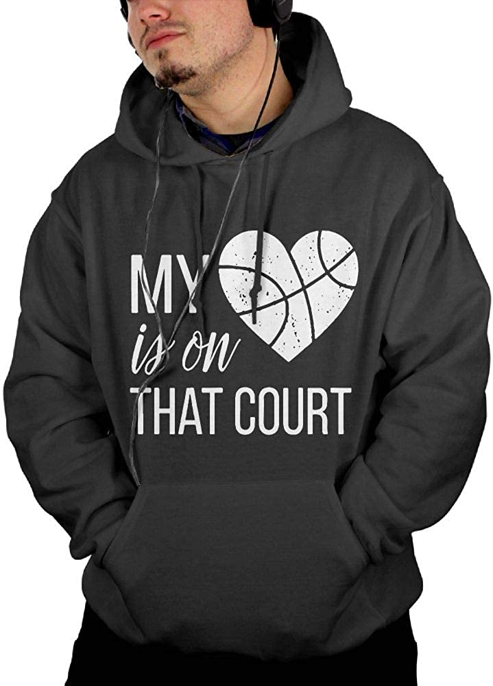 Comfortable 100/% Cotton Outwear with Pocket for Men Men My Heart is On That Court Basketball Pullover Hoodie
