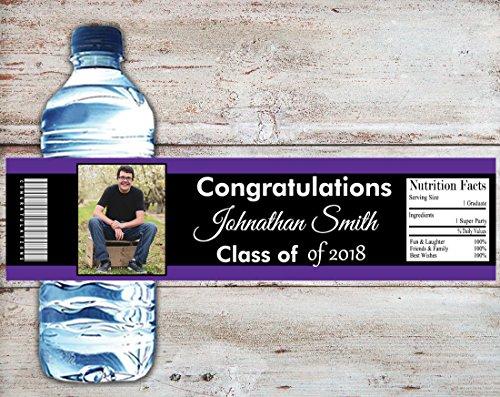 (Graduation Water Bottle Label, Personalized Photo Water Bottle Wrapper, Set of 10 College or High School Graduation, School)