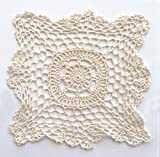 Fennco Styles Handmade Crochet Lace Cotton Doilies - 8-inch Square - 4-Pack (Beige)