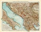 Antique Map-TURKEY-BOSNIA-SERBIA-KOSOVO-CROATIA-ALBANIA-BALKAN-ITALY-Andree-1904