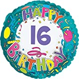 Creative Converting CTI Mylar Balloons, Happy Birthday 16, 17'', Multicolored pack of 5