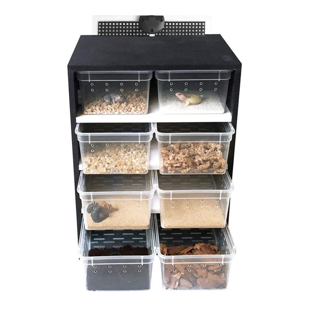 GDAE10 Acrylic Breeding Cabinet,8PCS Feeding Reptile Breeding Tank Insect Spider Turtle Heating Pad Thermostat USA Stock