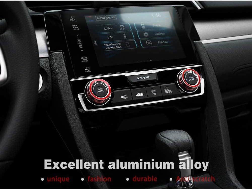 eloxiertes Aluminium AC-Schalter Temperaturklima-Regelringe f/ür 10 Gen Honda Civic 2016-2019,Rot L/&U Klimaanlage Knob Abdeckung Borte