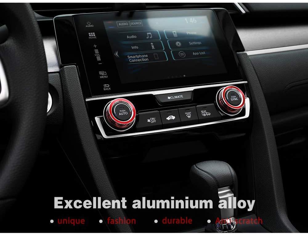 Alluminio anodizzato AC Interruttore di Temperatura del Clima Anelli di Controllo per 10 Gen Honda Civic 2016-2019,Blu L/&U Aria condizionata Knob Trim Coprire
