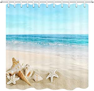 JAWO Starfish Beach Theme Shower Curtain Fabric, Tropical Sea Waves Seashell Conch Hawaiian Seaside Scene, Ocean View Cloth Shower Curtains No Smell with 12 Rustproof Grommet Holes, 69x70 Inches