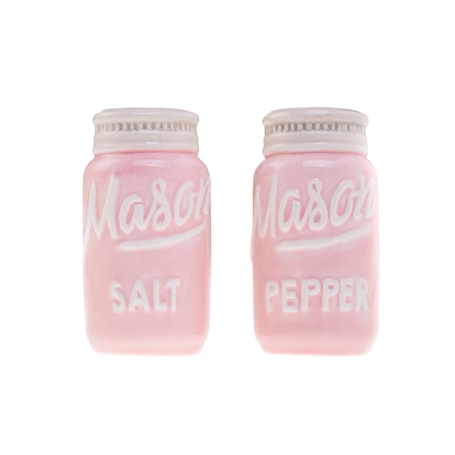Pink Mason Jar Salt & Pepper Shakers - Kitchen Ceramic Shakers   Retro & Farmhouse Decor   Dishwasher & Microwave Safe   Set of 2   Baking Supplies  Rustic Home Accessory & Gifts by Goodscious