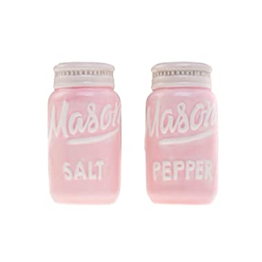 Pink Mason Jar Salt and Pepper Shakers - Kitchen Ceramic Shaker Bottle - Retro Farmhouse Decor - Kitchen Accessories Home Decor - Rustic Home Accessory and Gifts - Set of 2 by Goodscious