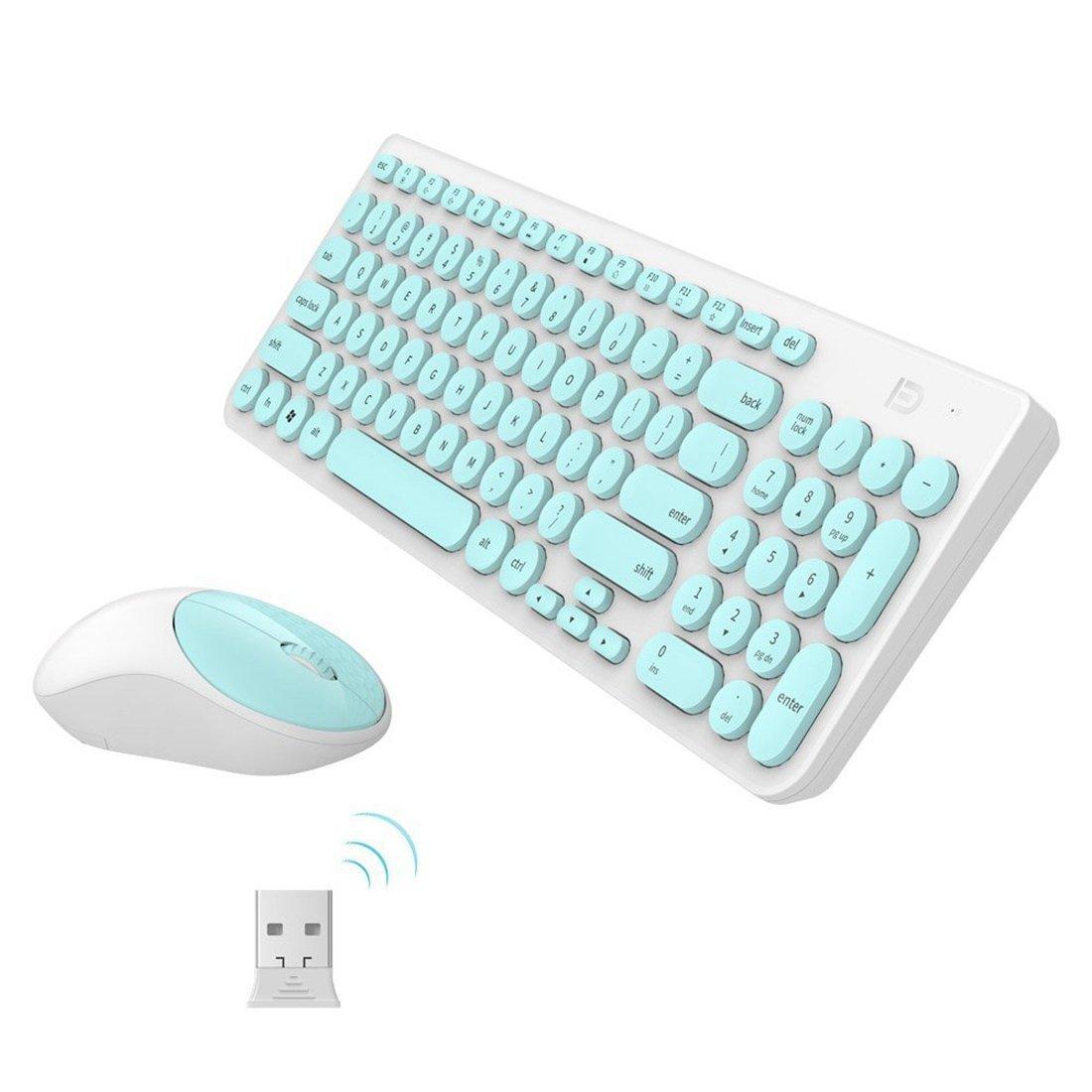 Pack de Teclado y Ratón Inalámbricos,SUAVER 2.4GHz Teclado y Ratón 12 Multimedia Compactos Silencioso y Receptor USB para PC Portátil Windows (Verde): ...