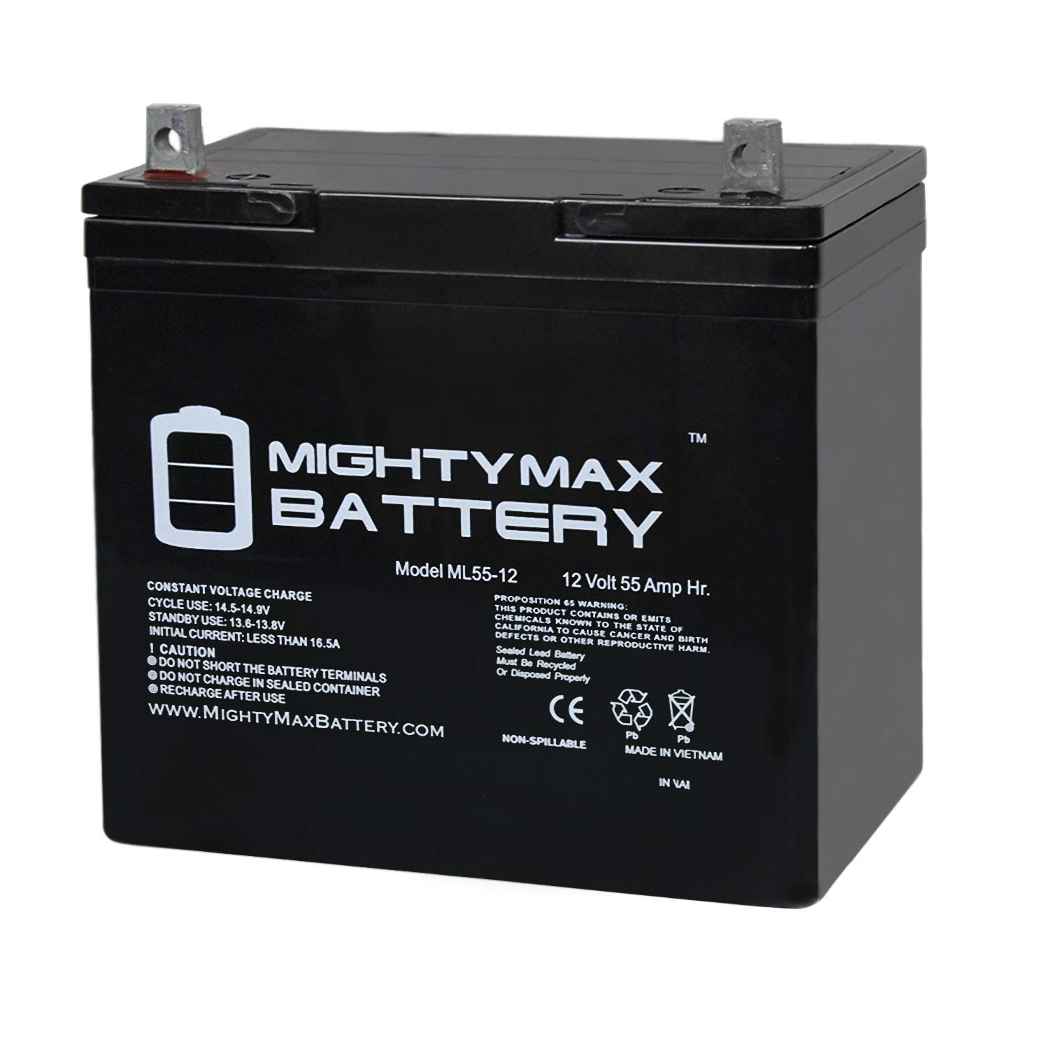 Mighty Max Battery 12V 55Ah Power Boat Pontoon Electric Trolling Motor Deep Cycle Battery Brand Product by Mighty Max Battery