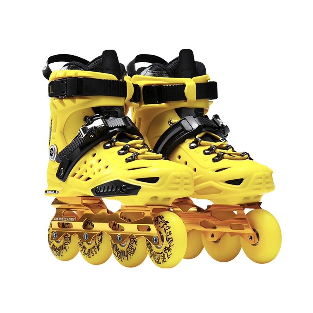 LXP インラインスケート アダルト初心者の単列スケート、プロのファンシーインラインローラーシューズ、衝突防止衝撃吸収、通気性、2色 高構成プロスケート靴 (色 : 青, サイズ さいず : EU 37/US 5/UK 4/JP 23.5cm) B07QQMM6LH EU 37/US 5/UK 4/JP 23.5cm|黄 黄 EU 37/US 5/UK 4/JP 23.5cm