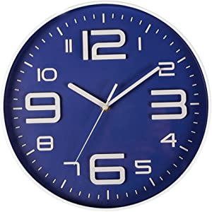 Zaoniy Non-Ticking Silent Quartz Wall Clock with Big 3D Number Modern Design Quiet Sweep Movement Indoor Decorative for Living Room Kitchen Wall Clocks Battery Operated 10-Inch (Blue)