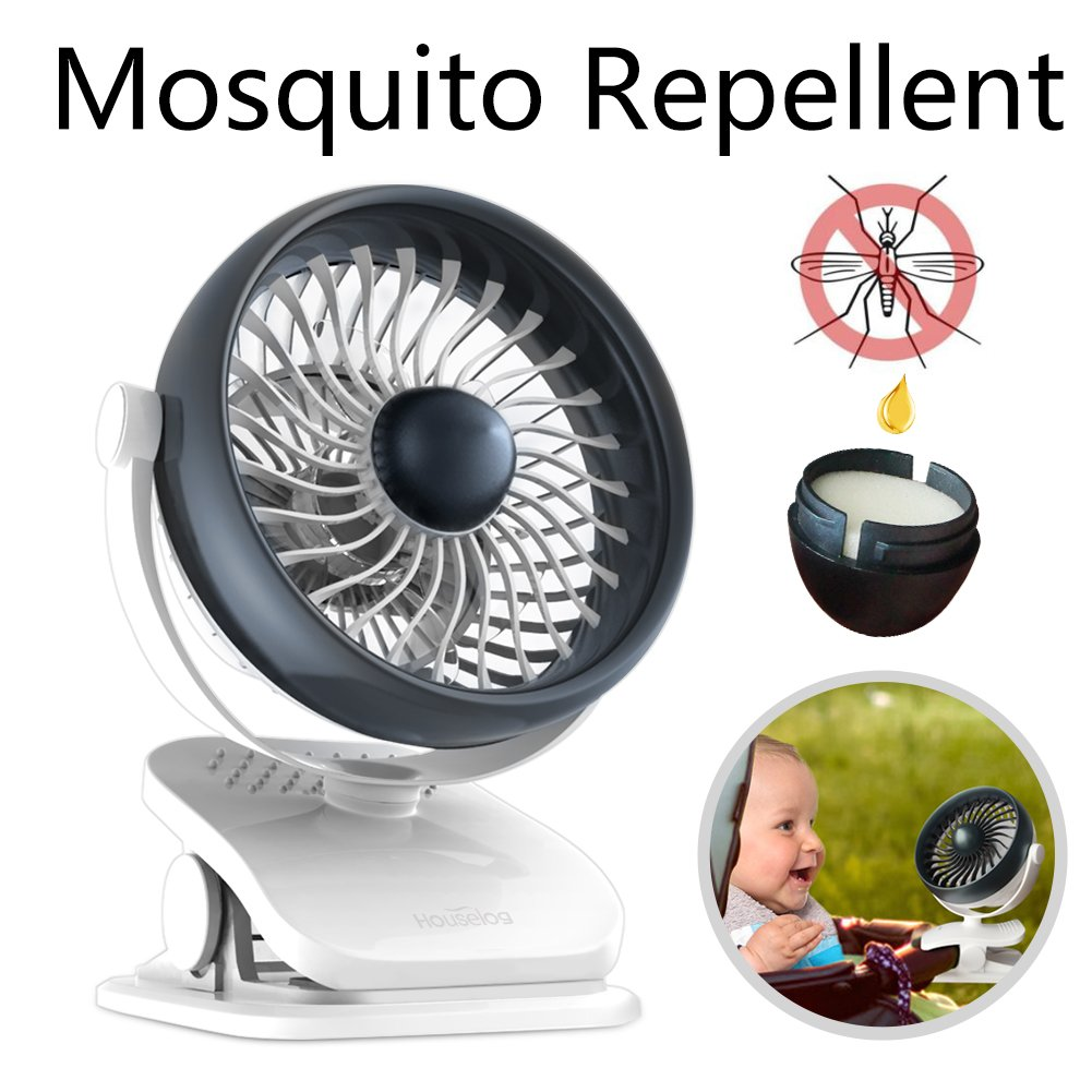 Houselog Clip On Stroller Fan, USB Powered and Rechargeable Battery Operated Desk Fan,Drive Mosquitoes, Essential-oils-Diffused, Small Portable Table Fans for Home Office Travel by Houselog