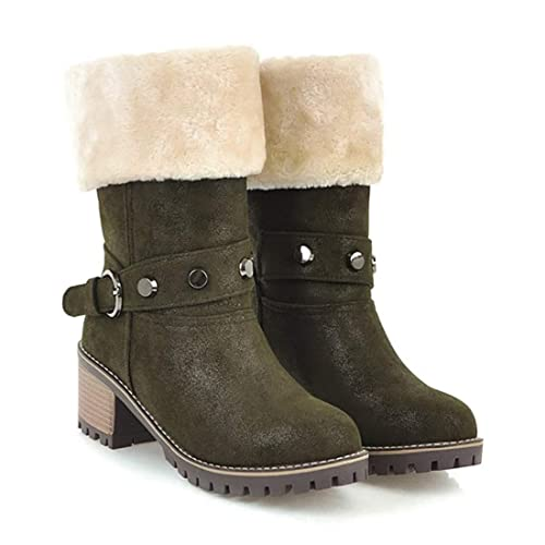 07246228d145 Image Unavailable. Image not available for. Color  DOTACOKO Womens Snow  Boots Suede Chunky Mid Heel ...