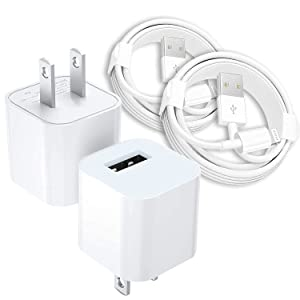 iPhone Charger MFi Certified Lightning Cable to USB Cable Set of 2(1m),USB Wall Charger Travel Plug Compatible with iPhone 8/8 Plus,iPhone 7/7Plus,iPhone 6S/6S Plus/6/6 Plus,iPhone 5/5S/5C/SE More