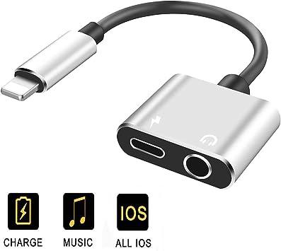 Adaptador de Auriculares para iPhone 7 Auricular Divisor de Audio para iPhone 7 //7Plus //8//8 Plus X//XR Dongle Jack Cable Auricular 2 en 1 M/úsica & Cargador conexi/ón Adaptador Compatible con TODOS iOS