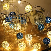 Once ZY Time 20 LED Rattan Sepak Takraw Ball String light Seasonal LED Fairy Lights for Halloween Christmas Propose Wedding Holiday Decoration Battery Operated 3M (Ball Diameter 5cm) (Blue+White)