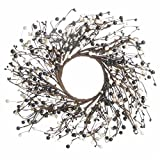 Decorative Artificial Twig and Colorful Black and Cream Pip Berry Wreath for Home Decor, Crafting and Designing