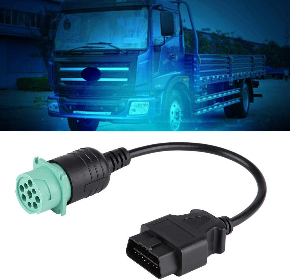 Truck Diagnostic Cable 9 Pin to 16 Pin Truck OBD2 Diagnostic Scanner Cable Adapter for Cummins Diesel Engine Truck