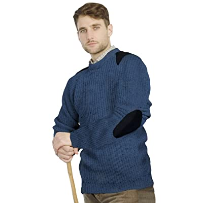 100% Pure Wool Irish Fishermans Rib Sweater with Patches by West End Knitwear at Men's Clothing store