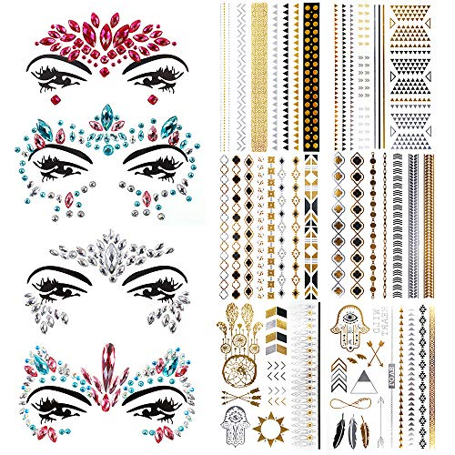 6 Sheets Metallic Temporary Tattoos&4 Set Crystal Body Gems, Teenitor Rhinestone Mermaid Face Jewels Tattoo Body Stickers Crystal Tears Gem Stones Temporary Stickers Gold and Silver Fake Tattoos -