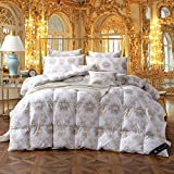TheFit Paisley Luxury Heavy Weight, W368 White Brown Bohemian Baroque Filling Duck Down Comforter Set, for Winter and All Season Handwork 100% Cotton, Twin Queen King Set, 1 Pieces (King)