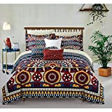 10pc Yellow Gold Blue African Themed Comforter King Set, Microfiber Polyester, Hippie Pattern Bedding Tribal Native American Africa Bohemain Boho Artistic Spice Red Diamond Southwest