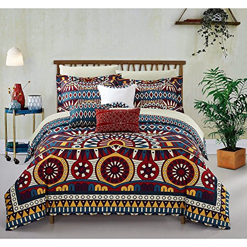 10pc Yellow Gold Blue African Themed Comforter King Set, Microfiber Polyester, Hippie Pattern Bedding Tribal Native American Africa Bohemain Boho Artistic Spice Red Diamond Southwest by DP