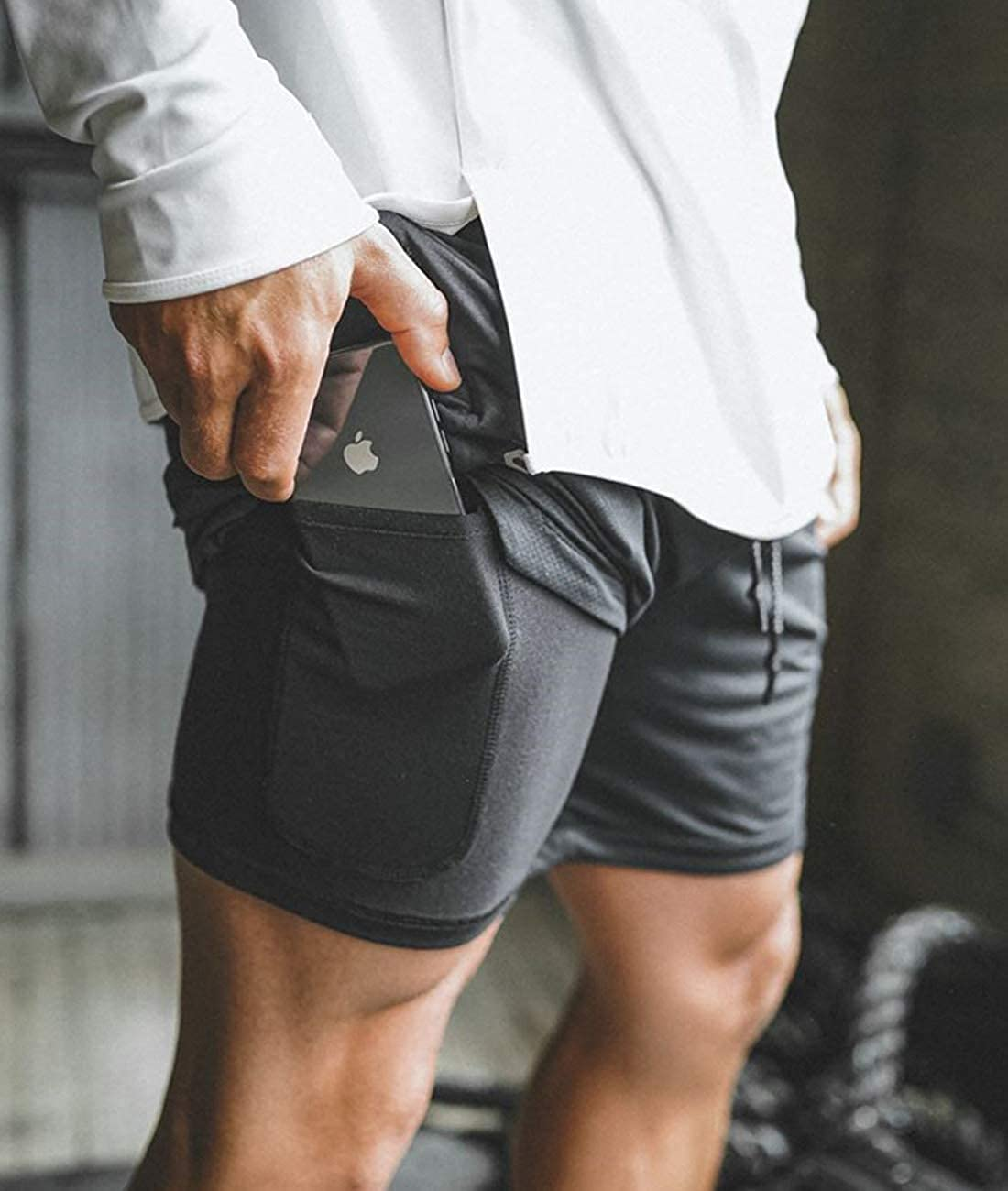 Men 2 in 1 Shorts Athletic,Built-in Quick-Dry Liner,with Towel Loop for Training,Jogger Running,Crossfit Weight Lifting.
