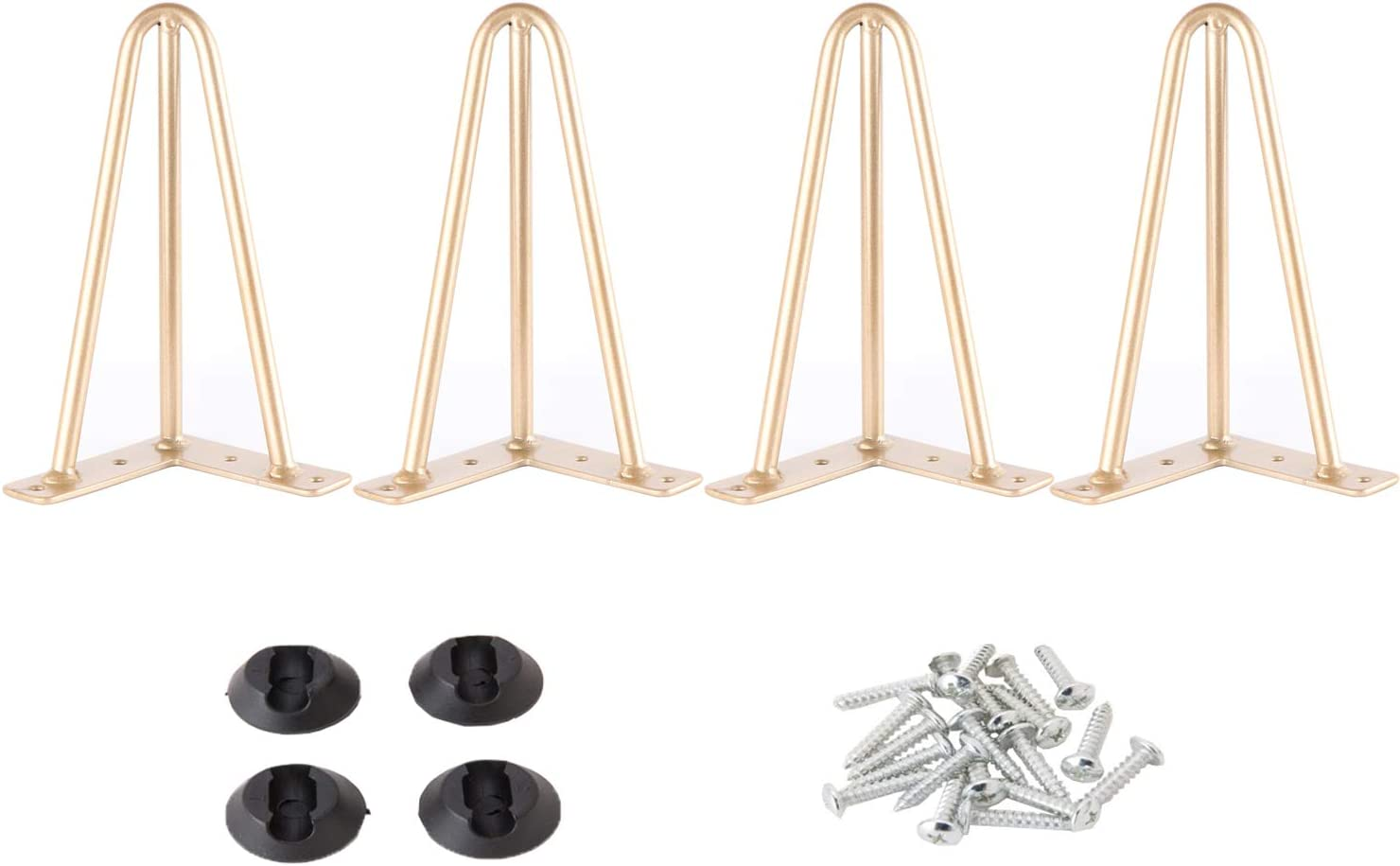 Osring Metal Hairpin Table Legs 6 Inch, Furniture Leg Gold with 3/8
