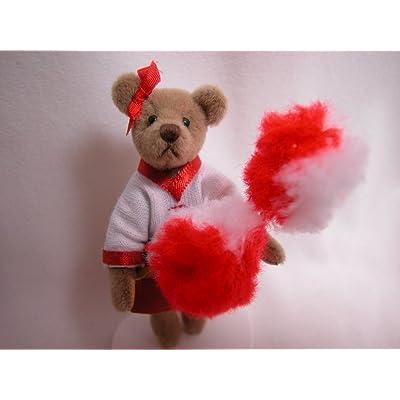"World of Miniature Bears 3"" Plush Bear Tiffany Cheerleader #827 Collectible Miniature Bear Made by Hand: Toys & Games"