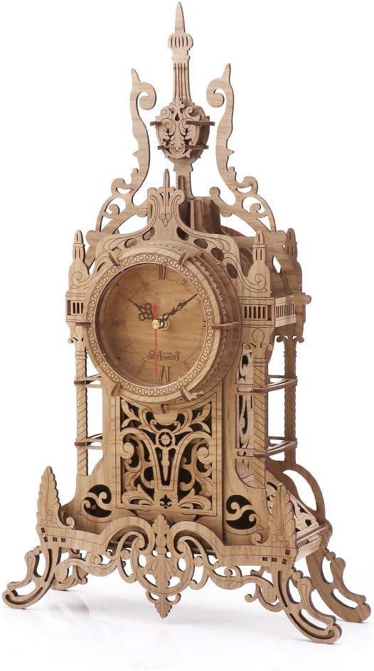 nicknack 3D Rompecabezas de Madera Cortado con láser, Reloj de Escritorio, Kits de construcción de artesanía en Madera, Modelo de ensamblaje de Bricolaje, Regalo de Juguete para niños y Adultos- Luz