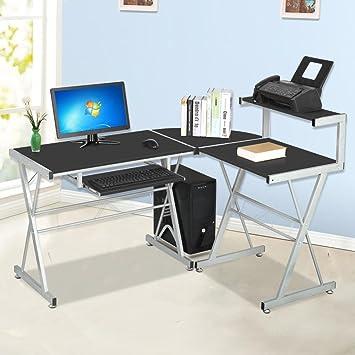 Amazon.com: go2buy Modern Wood L-Shape Corner Computer Desk PC ...