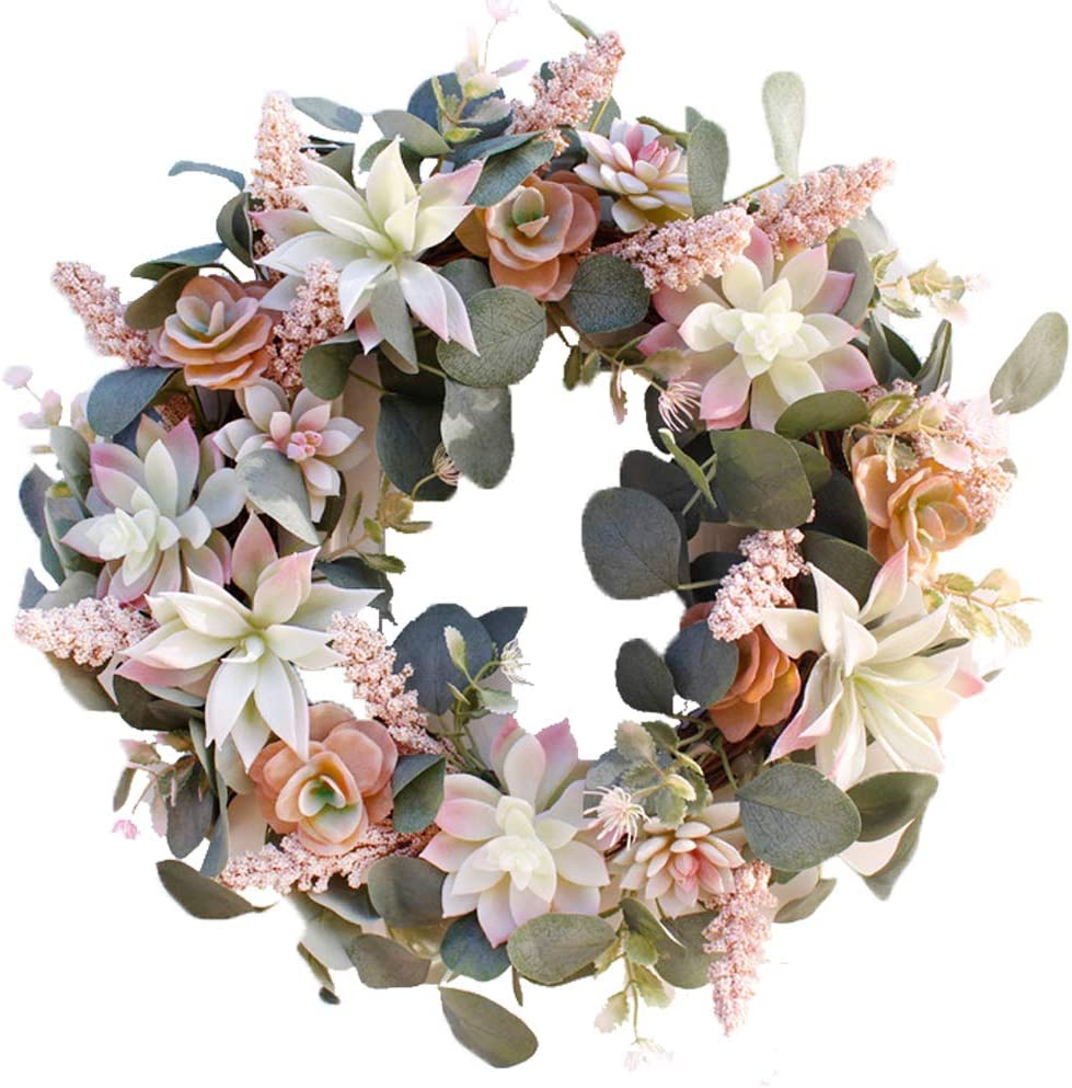 "HEBE 16"" Artificial Succulent Wreath Arrangement for Front Door Succulents Wreaths with Greenery Eucalyptus for Indoor Outdoor All Seasons"