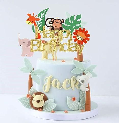 Tremendous Jevenis Jungle Animals Cake Topper Jungle Safari Cake Topper Funny Birthday Cards Online Alyptdamsfinfo