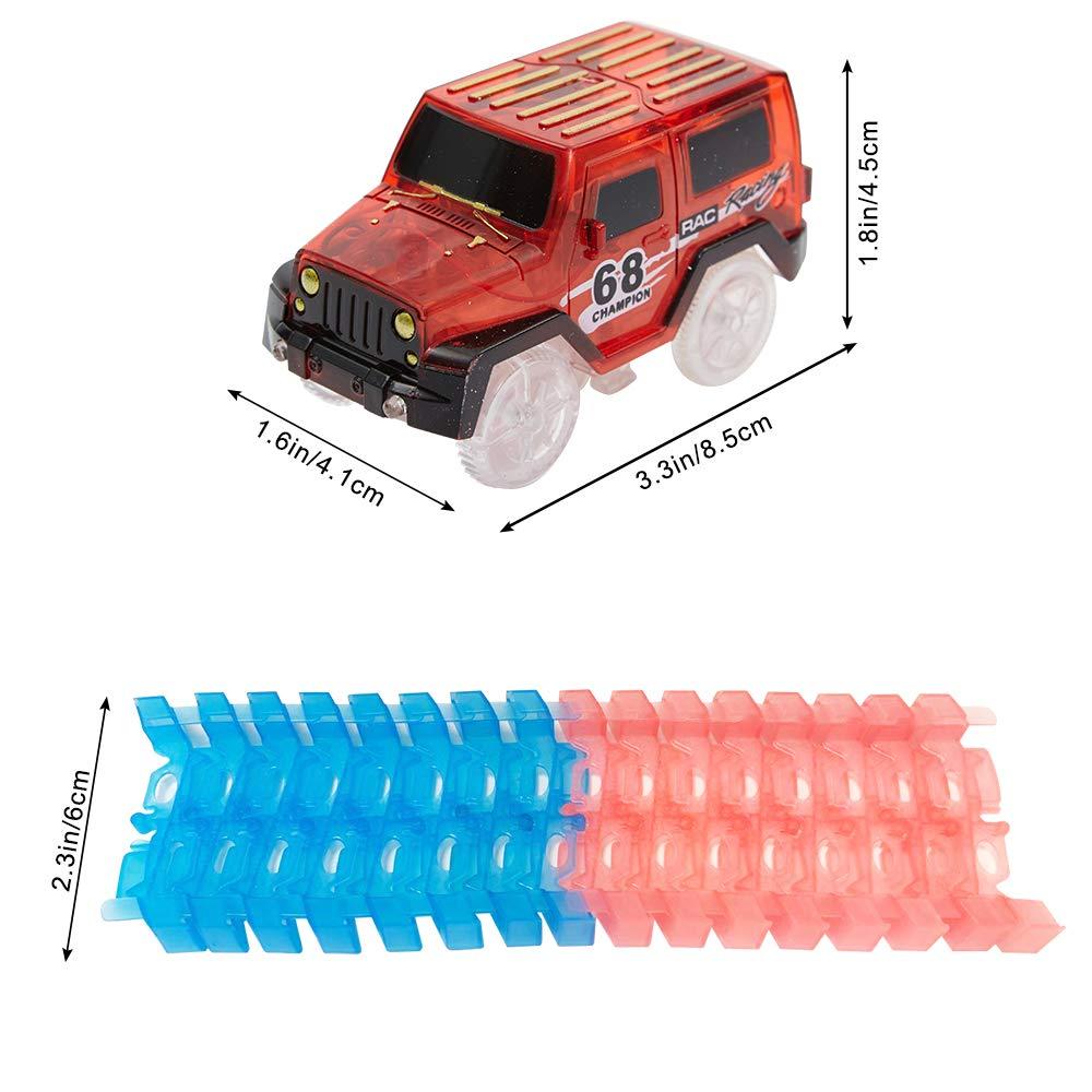 LED Auto,avec bo/îte-Cadeau Longueur de Piste 220CM ANIKI TOYS Jouet de Course sur Piste Largeur 6CM 139 pcs