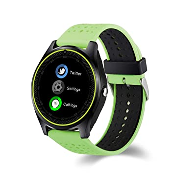 QTEC Reloj Inteligente Bluetooth Verde Smart Watch Cámara Smartwatch Podómetro Salud Deporte Reloj Horas Hombres Mujeres Gimnasio Rastreador para Android ...