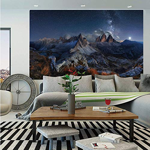 Night Huge Photo Wall Mural,Dolomites Italy Alps Mountain Landscape with Starry Night Sky Milky Way Decorative,Self-Adhesive Large Wallpaper for Home Decor 100x144 inches,Dark Blue Redwood Tan
