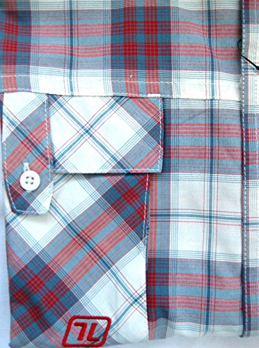 Life Line Wood Check camicia a quadri a maniche corte UPF40 + Grigio/Rosso XXL 45/46