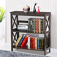 Yaheetech 3 Tier Espresso Finish Wood Bookcase Bookshelf Display Rack Stand Storage Shelving Unit