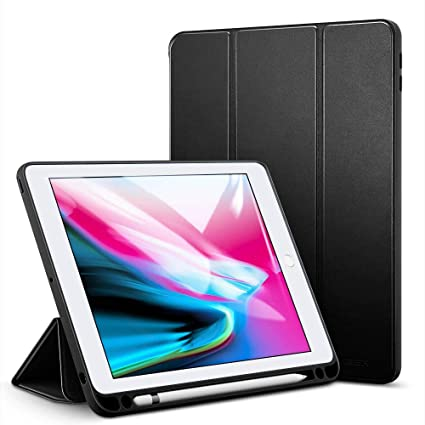 new arrival 01f92 b8243 ESR Case for iPad 9.7 2018 with Built-in Apple Pencil Holder, [Tri-Fold  Stand] [Auto Sleep & Wake] PU Leather Protective Smart Cover for iPad ...