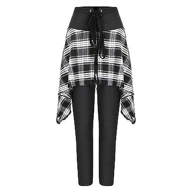 Ansenesna Pantalones De Mujer con Estampado A Cuadros De Moda ...