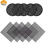 SelfTek 100 Pack Flower Pot Hole Mesh Pad,50 Pcs 4.5cm Round Bonsai Pot Bottom Grid Mat Mesh and 50 Pcs 5 X 5cm Square Garden's Plant Drainage Screens Breathable Gasket Bonsai Pot 2 X 2 inch Black