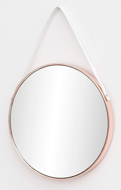 FineBuy Wandspiegel Lilly 42x61x4 cm Spiegel mit Rahmen Kupfer Flurspiegel Rund   Hängespiegel Flur zum Aufhängen Groß   Garderobenspiegel Wand Modern   Dekospiegel Wohnzimmer Schlafzimmer