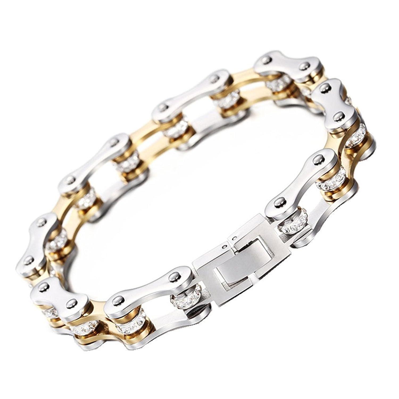 "Top Crystal Drill Women Mens Stainless Steel Motorcycle Bike Chain Bracelet 9"""