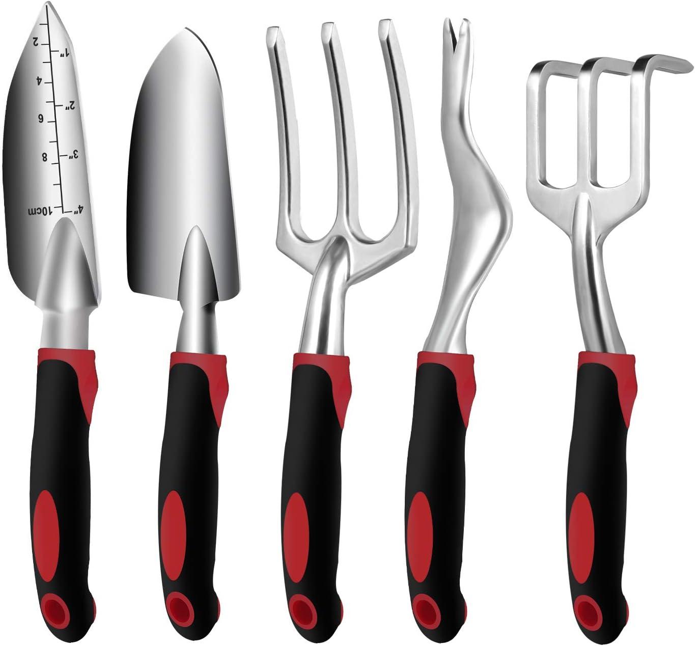 Garden Tool Set, 5PCS Aluminum Heavy Duty Garden Hand Tool Kit Includes Hand Rake, Trowel, Transplant Trowel, Weeder and Cultivator Hand Rake with Ergonomic Handle