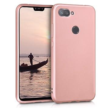 kwmobile Funda para Xiaomi Mi 8 Lite - Carcasa para móvil en [TPU Silicona] - Protector [Trasero] en [Oro Rosa Metalizado]